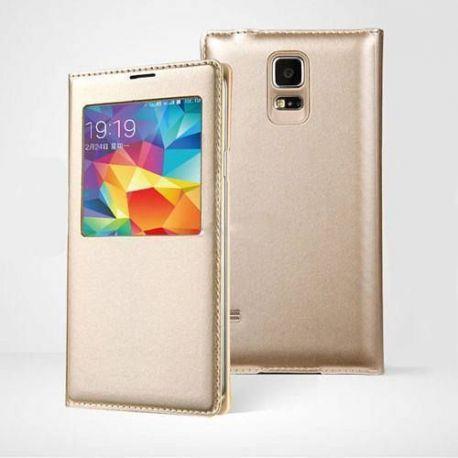 Кожен калъф с прозорец за Samsung Galaxy S6 Edge+ Plus