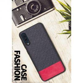 Елегантен калъф от плат и кожа за Samsung Galaxy A50